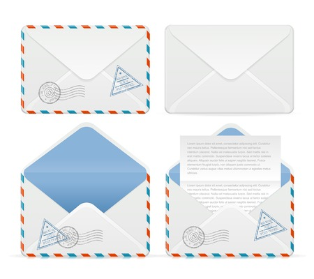envelope icon: Vector detailed envelope icon set Illustration