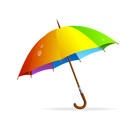 rainy days: rainbow umbrella isolated Illustration