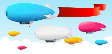 Retro dirigible and flags background. Vector illustration Vector