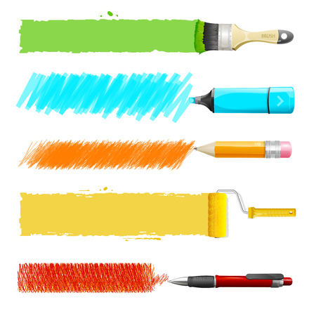 paint brush: Brushes, marker, pencil, pen Illustration