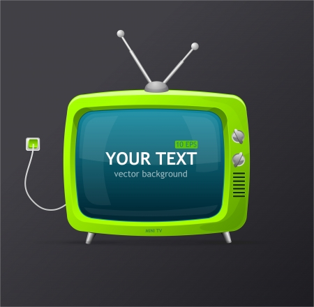 retro tv: Tv green