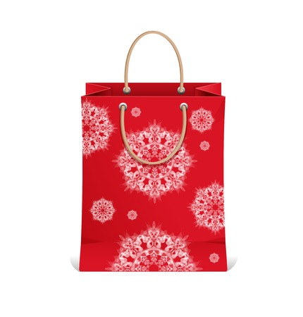 hopping: Christmas hopping bag from white snowflakes Illustration