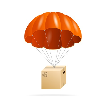 Red parachute with cardboard box on a white Vector
