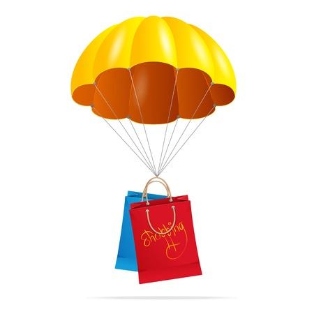 paracaídas con bolsa de compras en un blanco