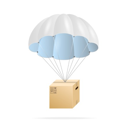 parachute: White parachute with cardboard box Illustration