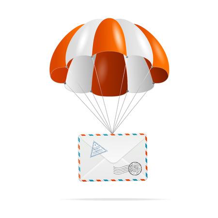 fallschirm: Fallschirm mit Mail auf wei�em