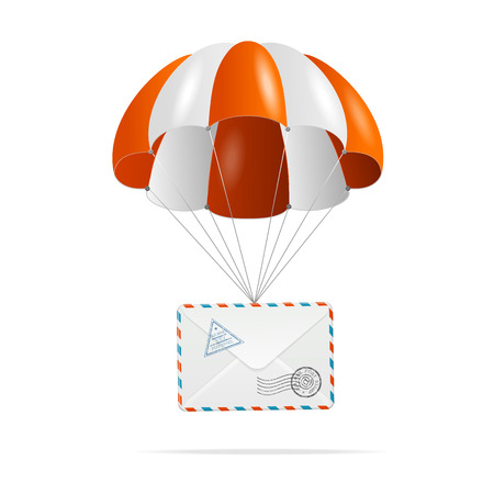 parachute: parachute with mail on a white Illustration