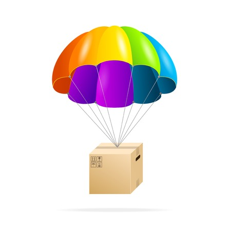 storage warehouse: Rainbow parachute with cardboard box on a white Illustration