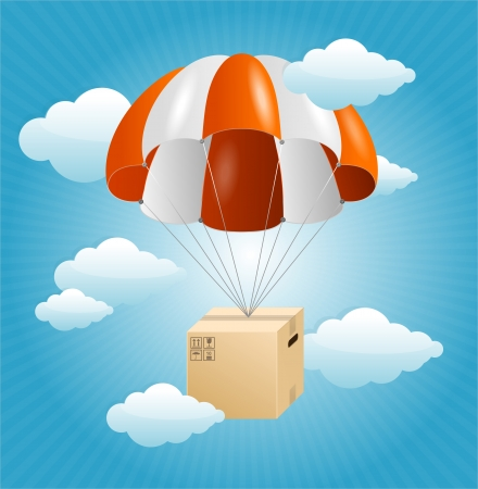 parachute: Vector parachute background. Air shipping concept Illustration
