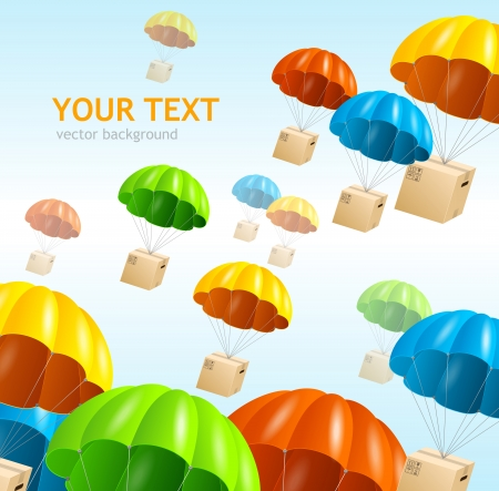 ship parcel: Vector parachute background. Air shipping concept Illustration