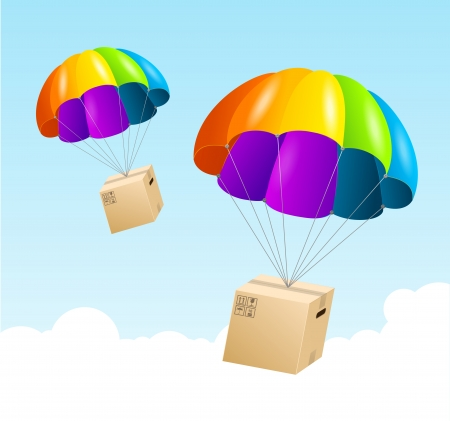 Vector parachute background. Air shipping concept