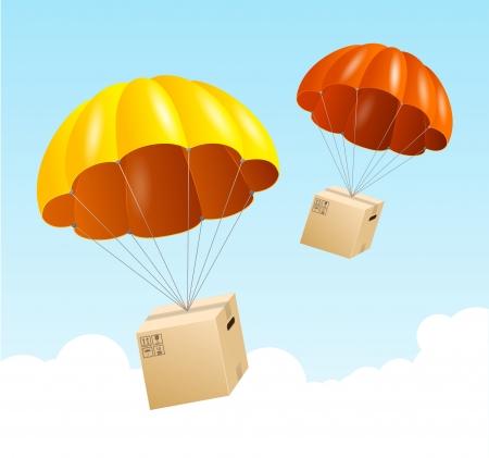 Vector paracaídas fondo. Concepto de envío del aire