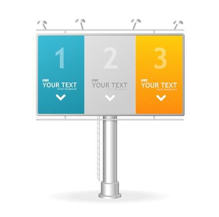 Vector billboard screen template,1,2,3 concept. Illustration