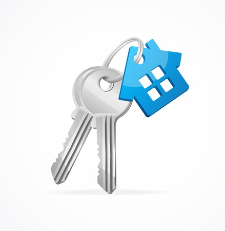 key in chain: House keys with Blue House Key chain