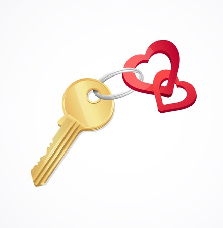 door lock love: House keys with Red heart Key chain Illustration
