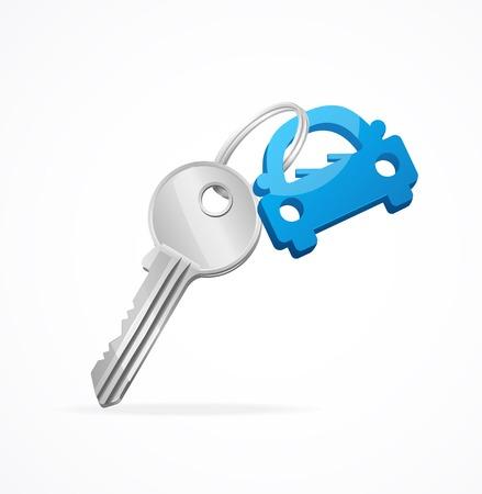 Auto-Schlüssel und Schlüsselanhänger blau Vektorgrafik
