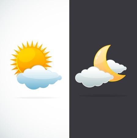 sonne mond und sterne: Wettersymbole Sonne und Mond