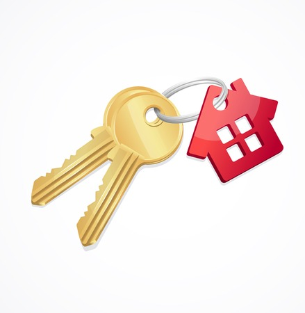 House keys with Red House Key chain