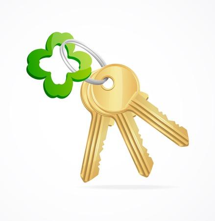 Gouden sleutels en klaver sleutelhanger