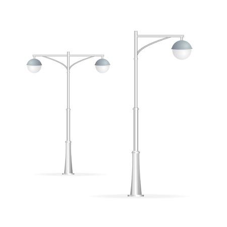 Lampadaire isolé sur blanc, l'électricité