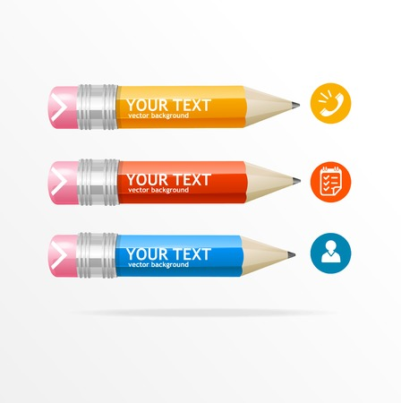 pencil box: Illustration  text boxes, modern infographics, icon and pencil