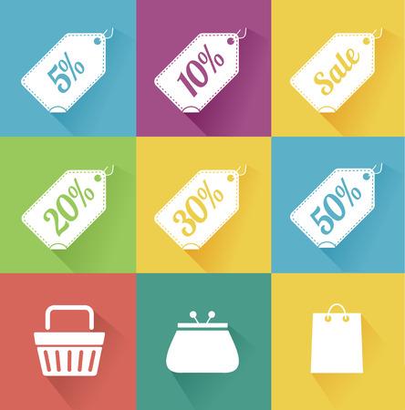 Illustration  set of modern flat sale icons. Shopping.