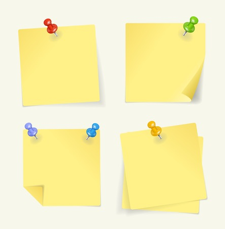 memory board: Vector set of yellow sticky Notes with pin