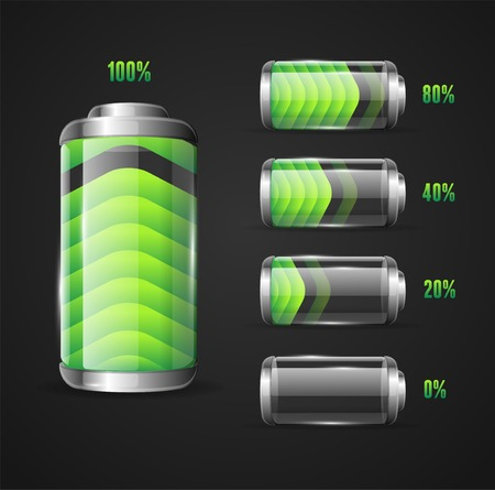 Vector illustration of Battery full level indicator Çizim