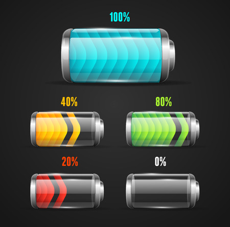 battery charger: Vector illustration of Battery level indicator