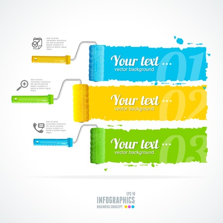 roller brush: Vector text boxes, modern infographics, icon and marker