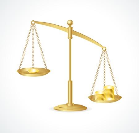 ungleichgewicht: Gold-Gerechtigkeit Skalen isoliert auf wei�