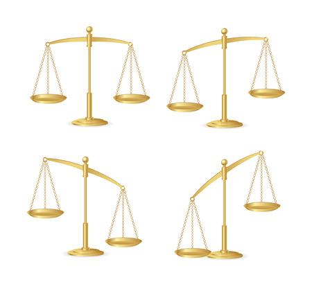 Chelles de justice d'or isolé sur blanc Banque d'images - 27292973