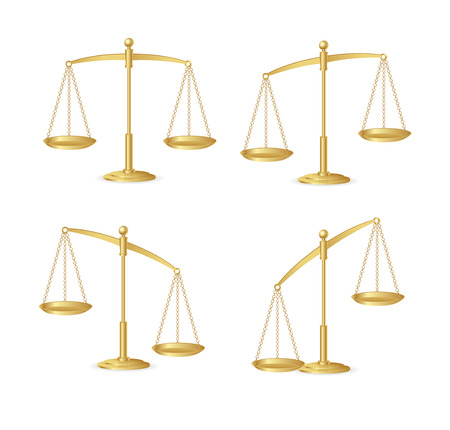 scale model: Gold justice scales isolated on white