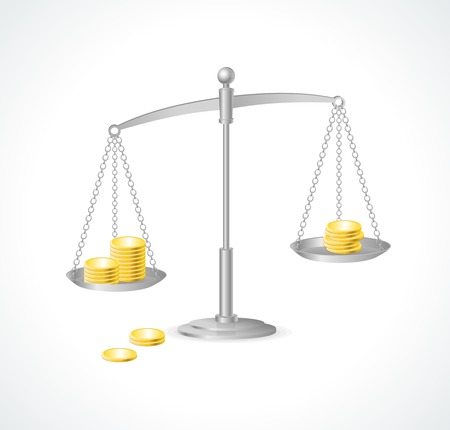 scale model: silver justice scales and money