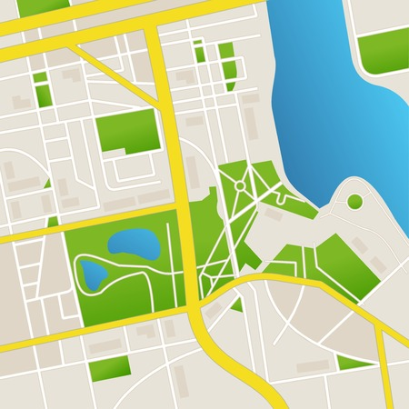 abstract city map. Streets and river Vector