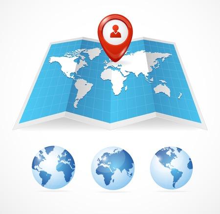 blauwe kaart pictogram en wereldbol, en Pin Pointer