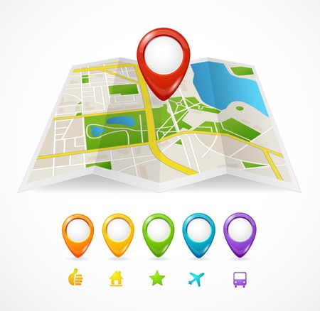 city map with GPS Icons illustration Vector