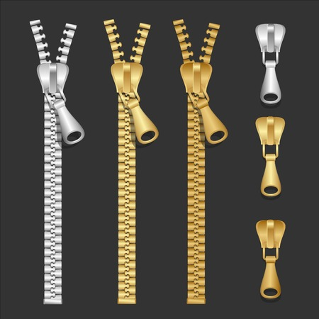 realistic zippers type set of illustration