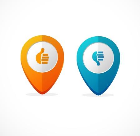 no icon:  map pointer. Icon pin blue and orange Illustration