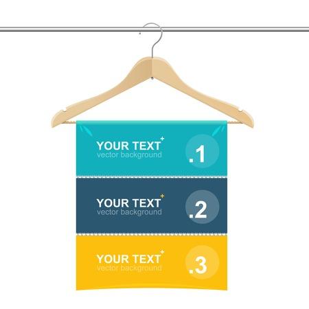 coat rack: Coat hanger wood like text headers template Illustration
