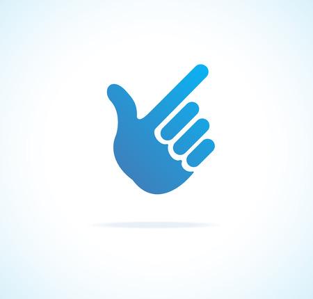 dedo señalando: Papel cursor de mano, icono vector que apunta en blanco Vectores