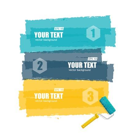roller brush: Vector el cepillo del rodillo para el texto, las opciones de infograf�a banner en blanco