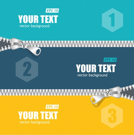 Vector realistic zippers banner 1 2 3 concept template