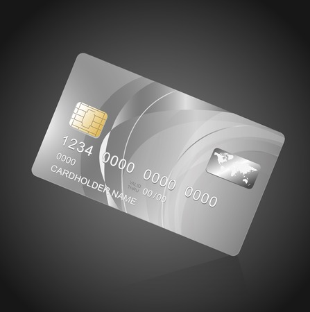 debit card: VIP Card silver on black. Vector template