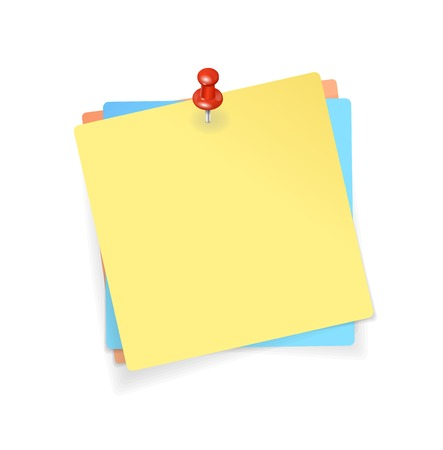벡터 노란색, 빨간색, 파란색 스티커 및 빨간색 핀 배경