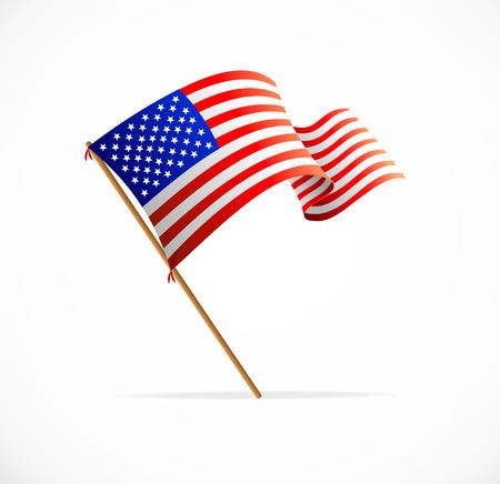 Ondeando la bandera americana (Bandera de EE.UU.) vector Foto de archivo - 27674719