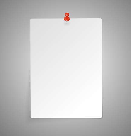 pinned: Vector sheet of paper isolated on gray template