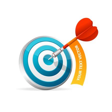 dart on target: Dartboard with dart. Illustration on white background