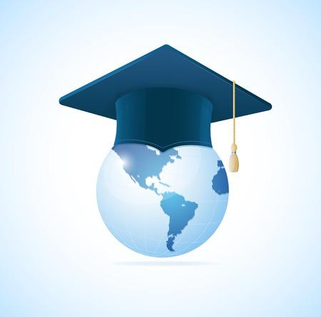 Vector Earth planet with graduation cap concept Vector