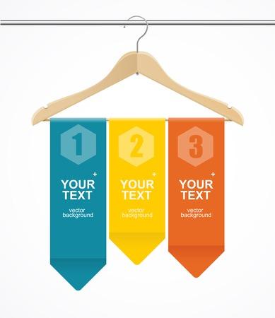 Coat hanger wood like text headers. 1,2,3 concept.